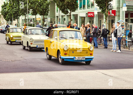 22 September 2018: Berlin, Germany - Travant Cars in Tag-Along Tour in the central city. - Stock Image