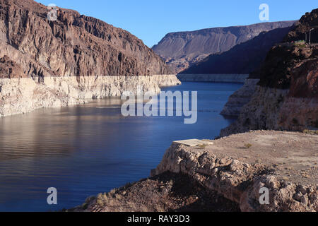 Lake Mead, Nevada, USA showing sad signs over overuse of water as well as a general drought (November 2018) - Stock Image