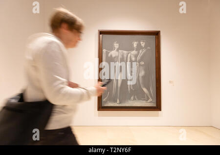 Picasso Museum Malaga - a visitor looking at The Three Graces 1923, Museo Picasso, Malaga Andalusia Spain Europe - Stock Image