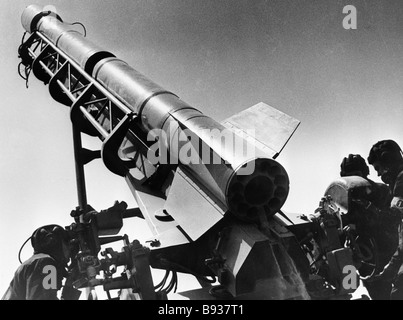 A missile launcher in combat position - Stock Image