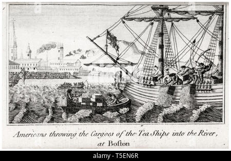 Americans Throwing the Cargoes of the Tea ships into the River, Boston Tea Party engraving by W.D. Rev. Mr. Cooper, 1789 - Stock Image