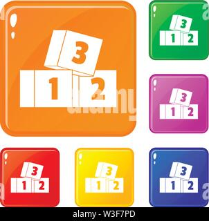 Bricks icons set vector color - Stock Image