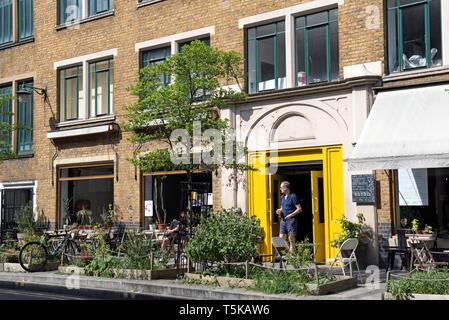 People outside Cafe Oto, Dalston London Borugh of Hackney - Stock Image