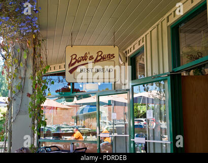 Barb's Buns bakery and restaurant in the town of Ganges on Salt Spring Island, BC, Canada. - Stock Image