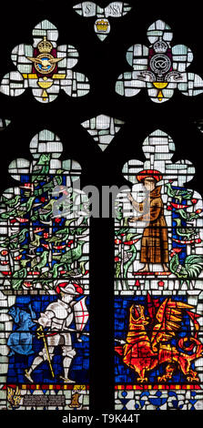 The Cunliffe-Lister memorial window in St. Mary's Church, Masham, Yorkshire, UK - Stock Image