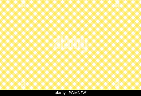 Diagonal Gingham-like table cloth with banana yellow and white checks, symmetrical overlapping stripes in a single solid color - Stock Image