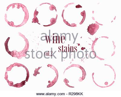 Set of wine stains and splatters isolated on white background. Vector illustration. - Stock Image