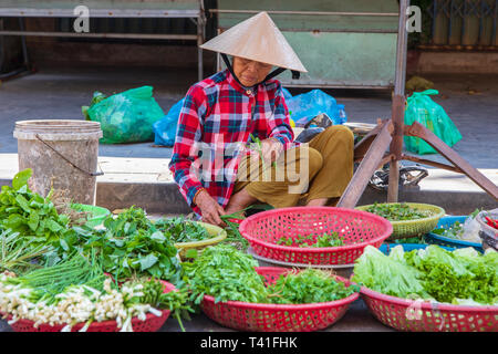 Vietnamese old woman selling herbs and vegetables at the street market, Hoi An, Vietnam, Asia - Stock Image