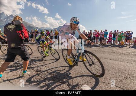 Pierre Roger Latour Tour de France 2018 cycling stage 11 La Rosiere Rhone Alpes Savoie France - Stock Image