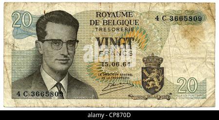 Banknote aus Belgien, 20 Franc oder Franken, König Baudouin, 1964, Banknote from Belgium, 20 franc, King Baudouin - Stock Image