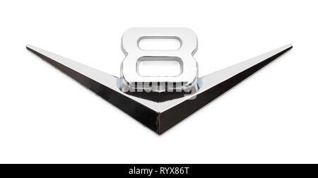Chrome V8 Car Emblem Badge Isolated on White Background. - Stock Image