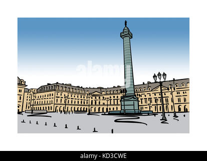 Illustration of Place Vendome in Paris, France - Stock Image