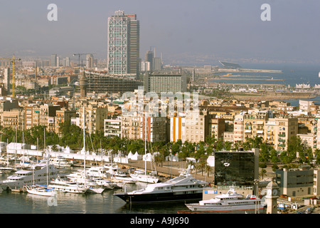 ESP Spain Barcelona harbour Barceloneta skyline teleshot - Stock Image