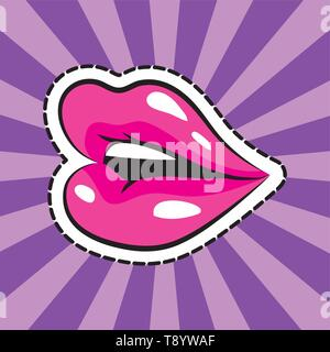 open mouth woman over rays background pop art comic cartoon - Stock Image