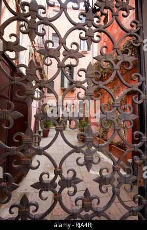 Eisengitter mit stilisierten Lilien in Venedig - Stock Image