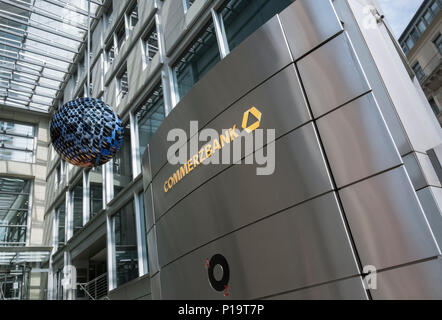 Commerzbank building entrance, Frankfurt am Main, Hesse, Germany - Stock Image