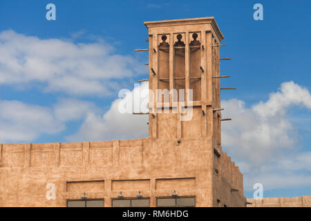 Traditional Wind Tower in Al Bastakiya historical district, Dubai, United Arab Emirates. - Stock Image