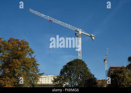 Tower cranes in Coventry city centre UK - Stock Image