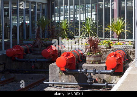 Brightly painted old buffers at Bradford Interchange railway station, West Yorkshire - Stock Image