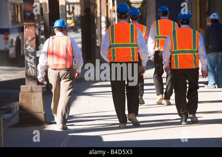 workers, uniforms, walking, executive, bosses, construction, - Stock Image