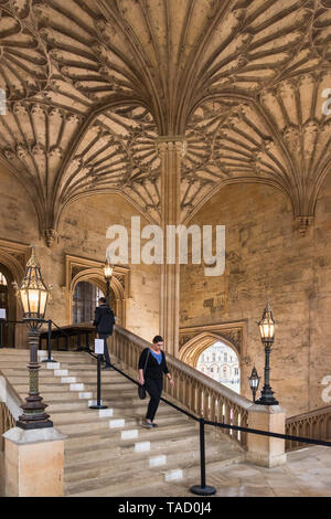 Bodley Tower Hall Staircase, Christ Church, Oxford University, UK - Stock Image