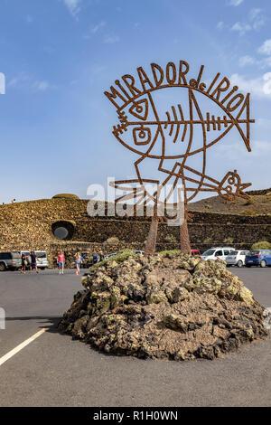 Sign of Mirador del rio, the tourist attraction on Lanzarote carary islands - Stock Image