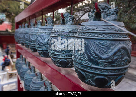Bells in Temple of Confucius in Beijing, capital city of China - Stock Image