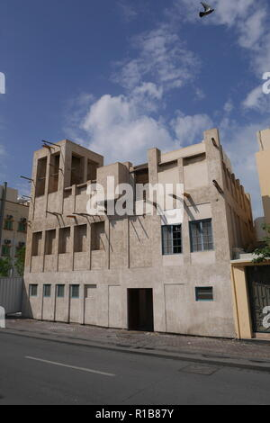 Al Alawi House, with wind tower, located on the Pearl Trail, Muharraq, Kingdom of Bahrain - Stock Image
