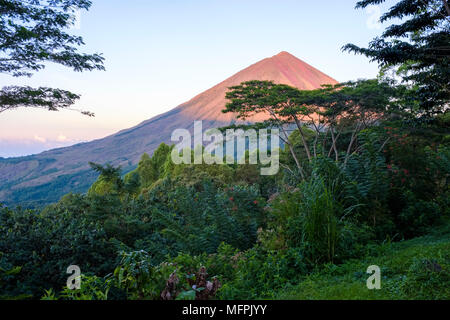 Early morning view of Inerie volcano (2,227 m), Bajawa district, Flores Island (East Nusa Tenggara), Indonesia. - Stock Image