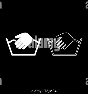 Only manual wash Clothes care symbols Washing concept Laundry sign icon outline set white color vector illustration flat style simple image - Stock Image