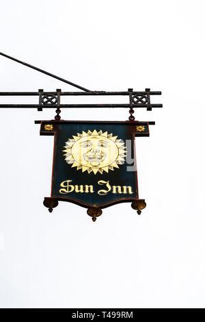 Sun Inn pub sign - Stock Image