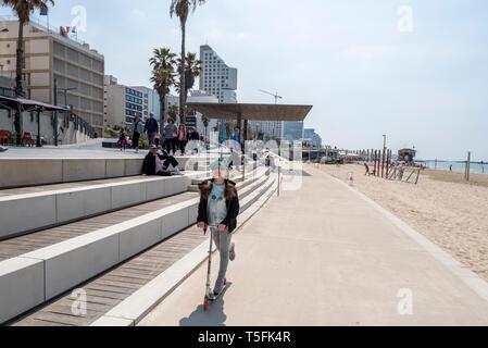 Israel, Tel Aviv-Yafo - 22 March 2019: The new Tayelet - Central Beach Promenade - renovated by Mayslits Kassif Architects - Stock Image