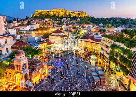 Athens, Greece -  Night image with Athens from above, Monastiraki Square and ancient Acropolis. - Stock Image