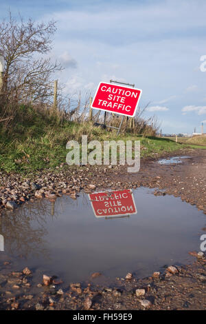 Caution Site Traffic warning sign near a UK construction site - Stock Image