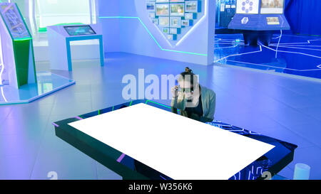 Augmented reality interactive experience - mock up white display - Stock Image