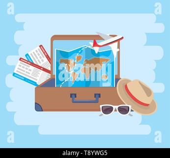 tickets with hat and airplane inside travel briefcase vector illustration - Stock Image