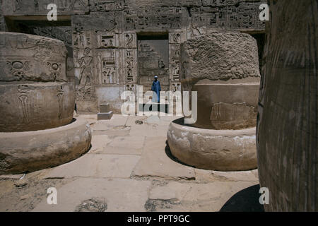 Courtyard of cut-off columns in Medinet Habu Temple, Luxor, Egypt. - Stock Image