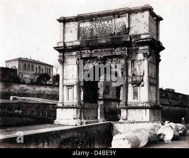 Arch of Septimius Severus, Rome, ca 1867, by Enrico Verzaschi - Stock Image
