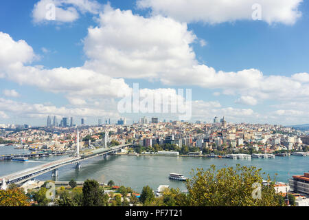 View of Istanbul across the Golden Horn on a sunny day - Stock Image