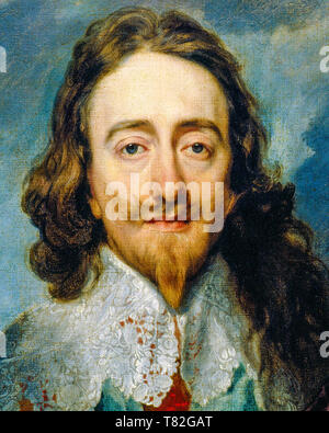 Charles I of England, portrait by Anthony van Dyck (detail crop from Three Positions painting) ,1635 - Stock Image