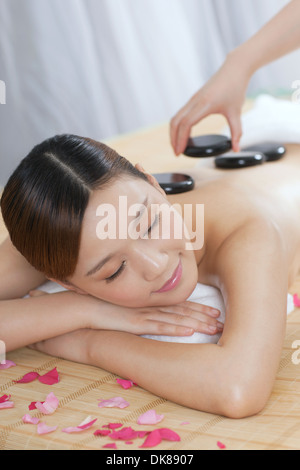 A stone course of young lady - Stock Image