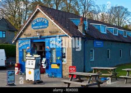 Aidensfield garage and Scripps funeral services used in the filming of the ITV series 'Heartbeat' Goathland North Yorkshire England UK United Kingdom  - Stock Image