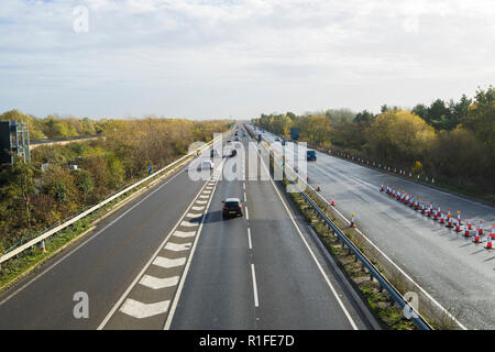A14 looking East from Milton cycle/pedestrian bridge 10/11/2018 - Stock Image