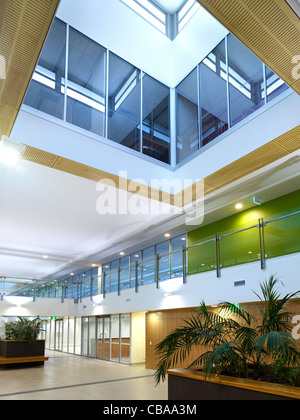 Modern commercial interior foyer featuring daylight atrium - Stock Image