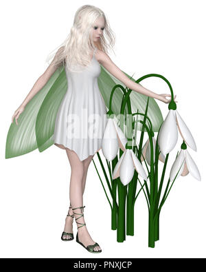 Snowdrop Fairy Standing by Winter Flowers - Stock Image