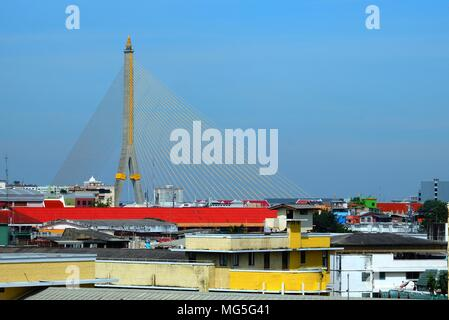 Scenery of Rama VIII Bridge. (Translation Text is 'Bowonniwet School'.) - Stock Image