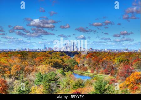 Center City Philadelphia Skyline with Fall Colors - Stock Image