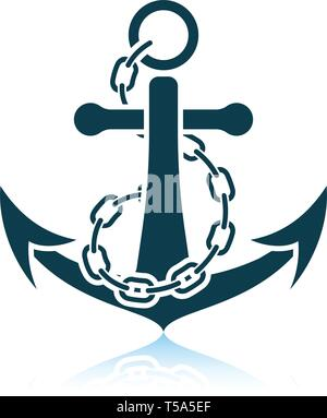 Sea anchor with chain icon. Shadow reflection design. Vector illustration. - Stock Image
