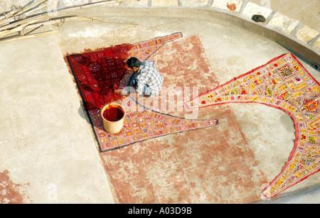 Man Making an Indian Carpet, Rajasthan, India - Stock Image