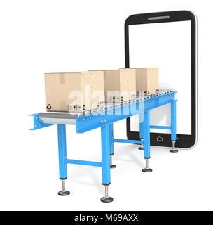 Blue Conveyor with cardboard Boxes connected to Smartphone. 3d Render. Blank for Copy Space. - Stock Image